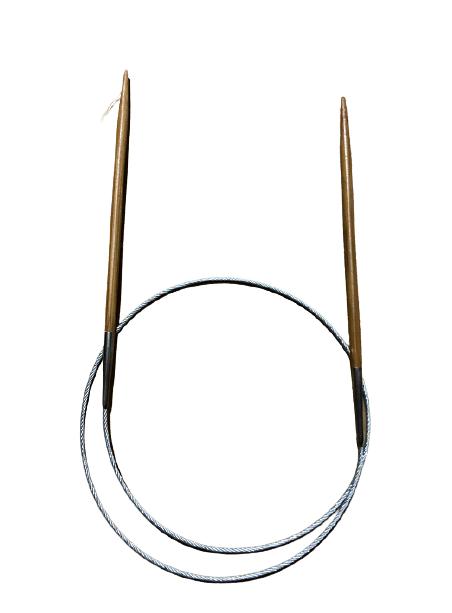 Palillo Circular Bambú Cable Metálico